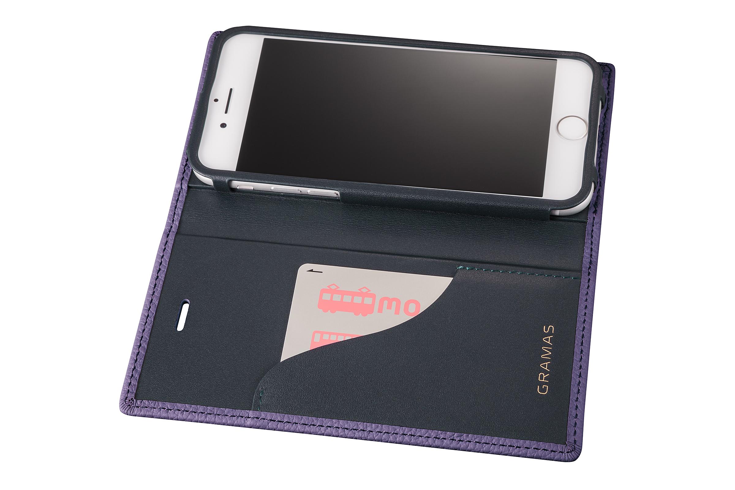 GRAMAS Shrunken-calf Full Leather Case for iPhone 7(Purple) シュランケンカーフ 手帳型フルレザーケース GLC646PR - 画像4