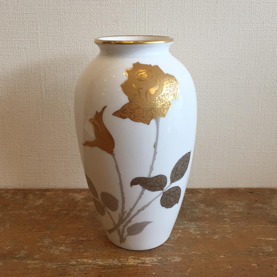 大倉陶苑 金蝕バラ花瓶