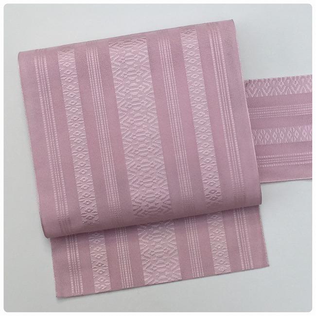 ★美品 夏帯 紗献上 博多 ピンク色 名古屋帯 洗える★ r09