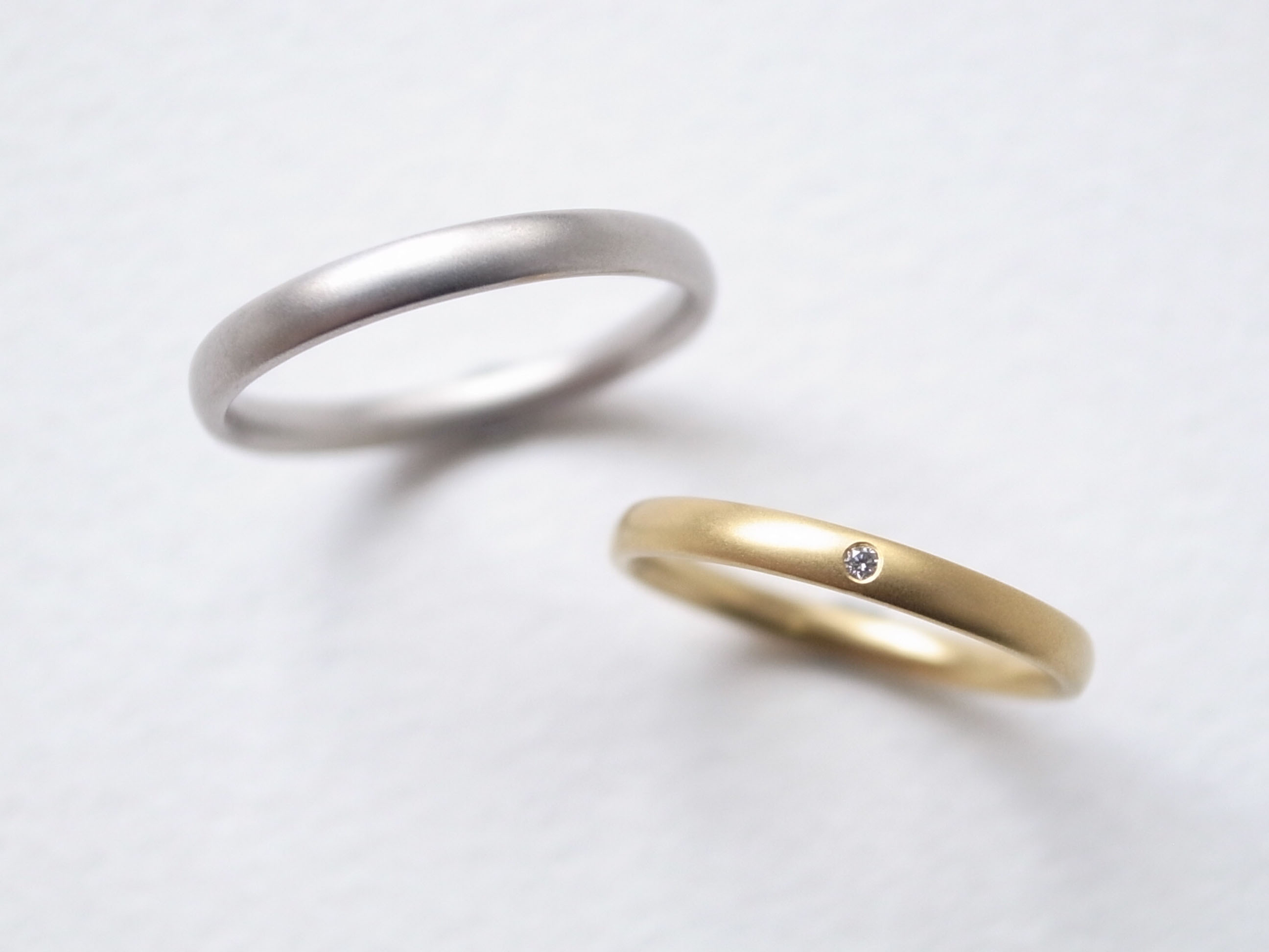 【pairing】K18YG Diamond・silver950/oval-s ring