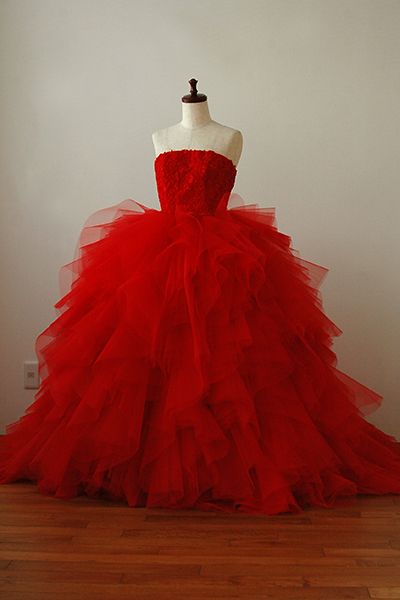鮮やかな赤色ドレス【S012】
