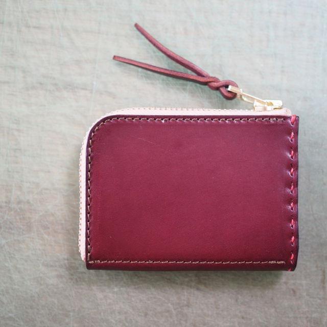 L字ファスナーの小型財布 / ワインレッド