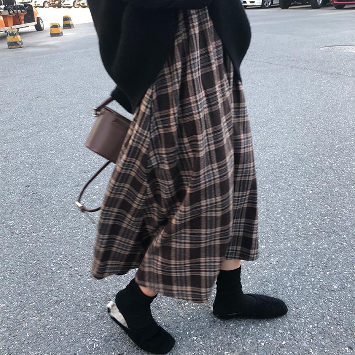 【送料無料】ゆったり♡ オーバーサイズ チェック柄 ミモレ丈 スカート