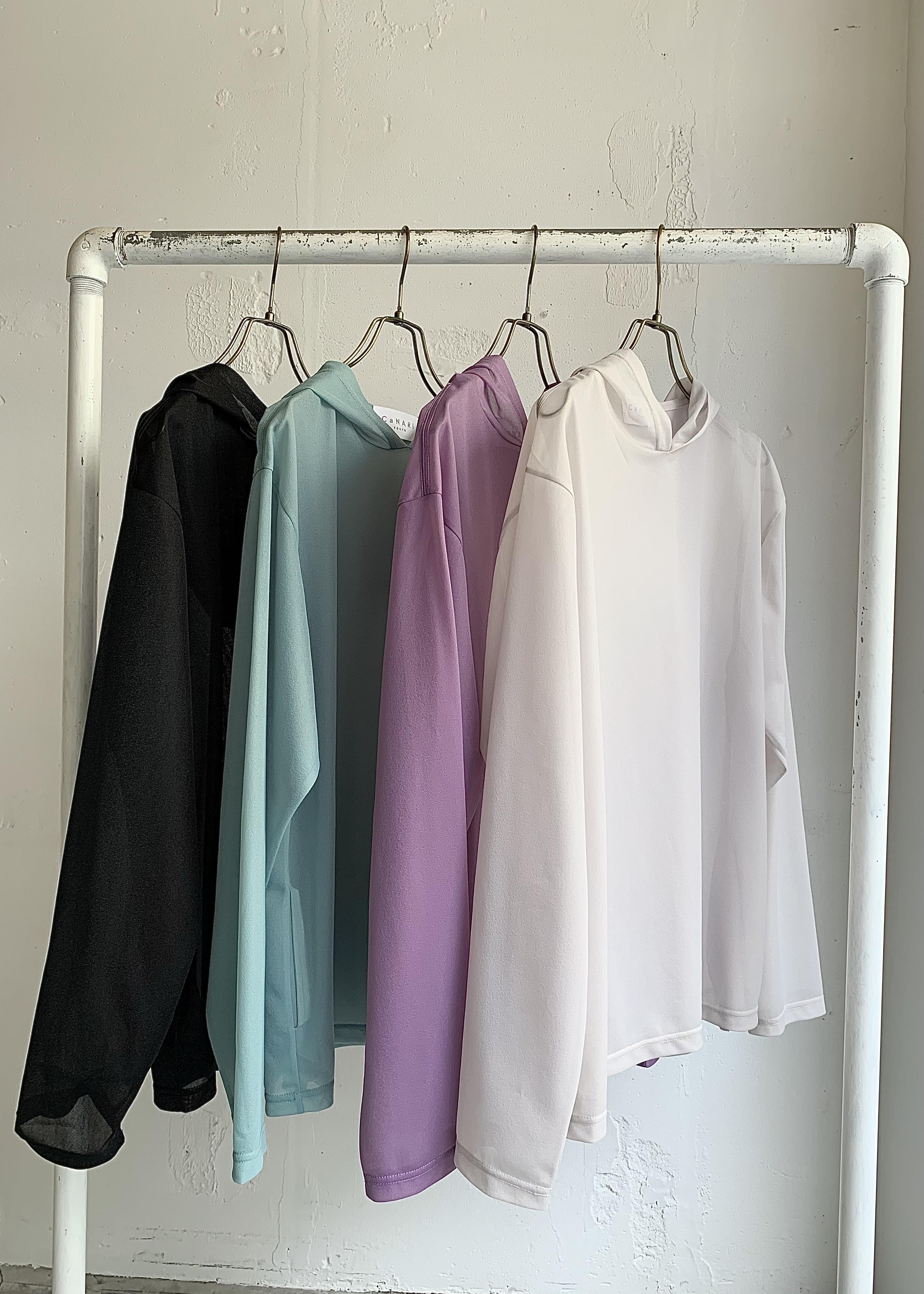 CaNARi 2021ss hoodie sheer tops