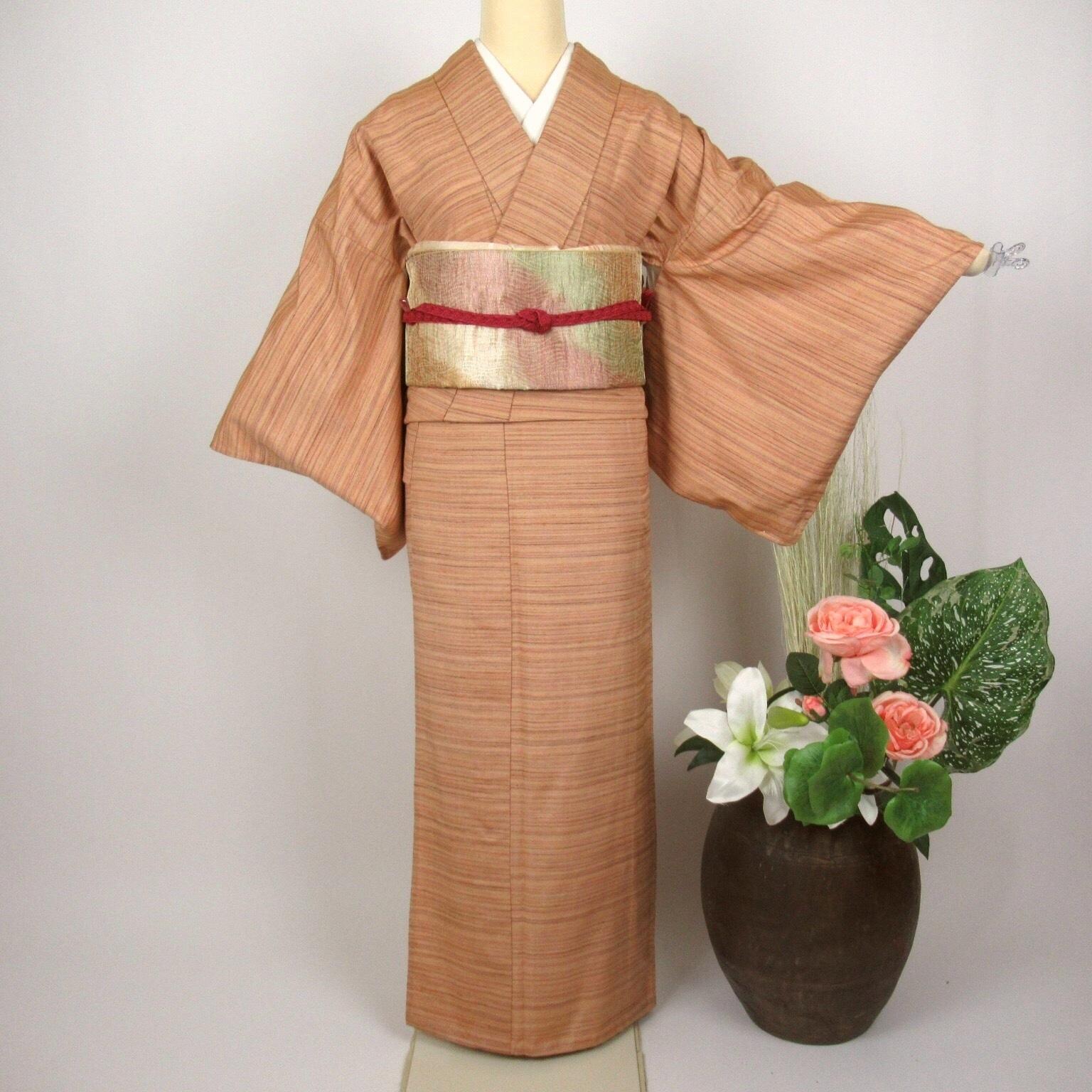 夏用 単衣 紬小紋1128と洒落袋帯4点セット