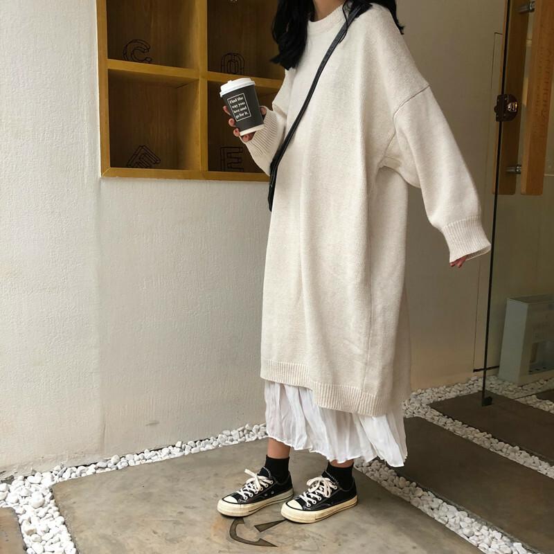 【送料無料】 ゆるカジコーデ♡ ゆったり ルーズ ニットワンピース シフォン プリーツスカート セットアップ