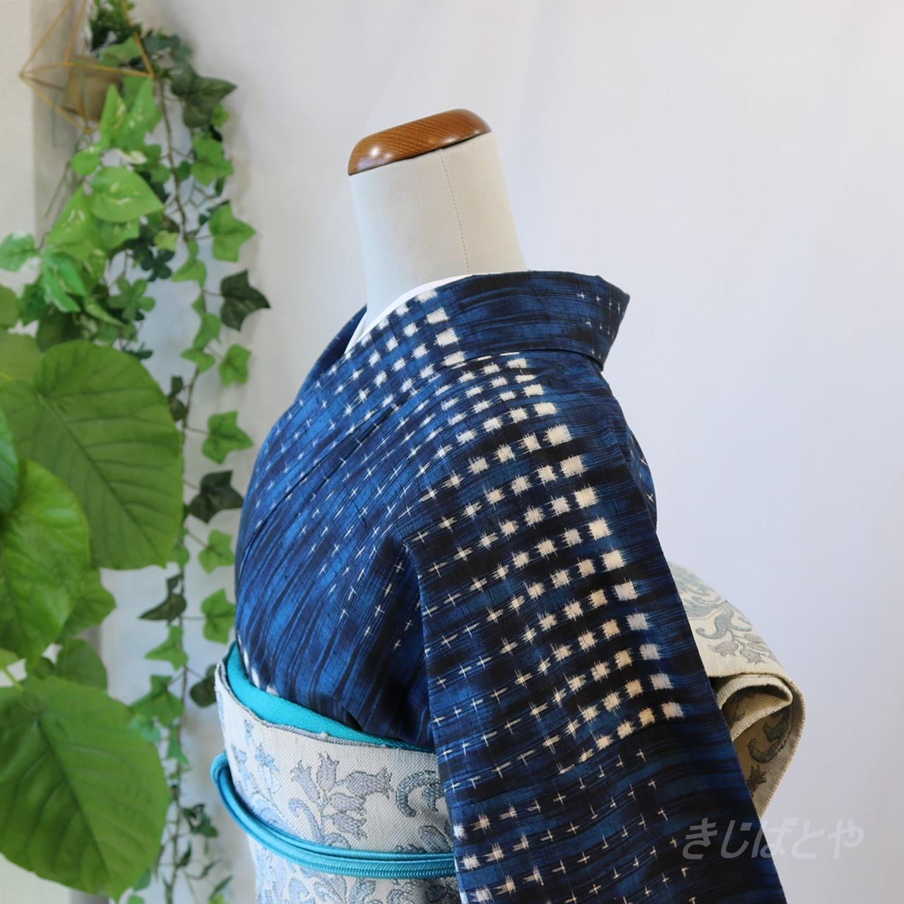 正絹紬 藍の総柄小紋 袷