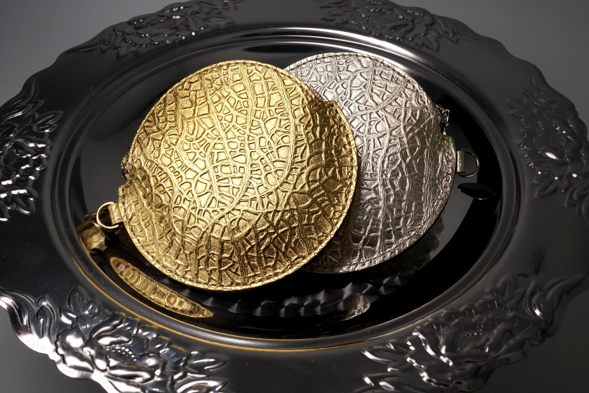 「スイカ」が入るメロン(牛革製コイン&パスケース)ゴールド/シルバー