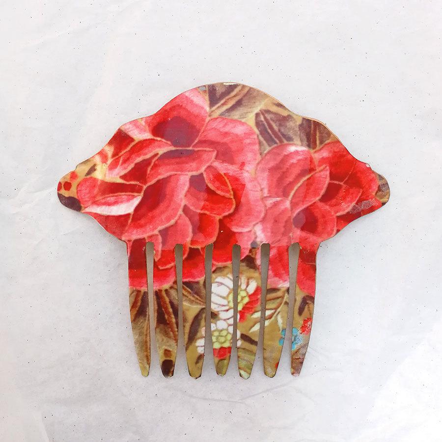 FE-Pn-A_PurezaCoral ペイネタA マントン刺繍柄・コーラル系  スペイン製