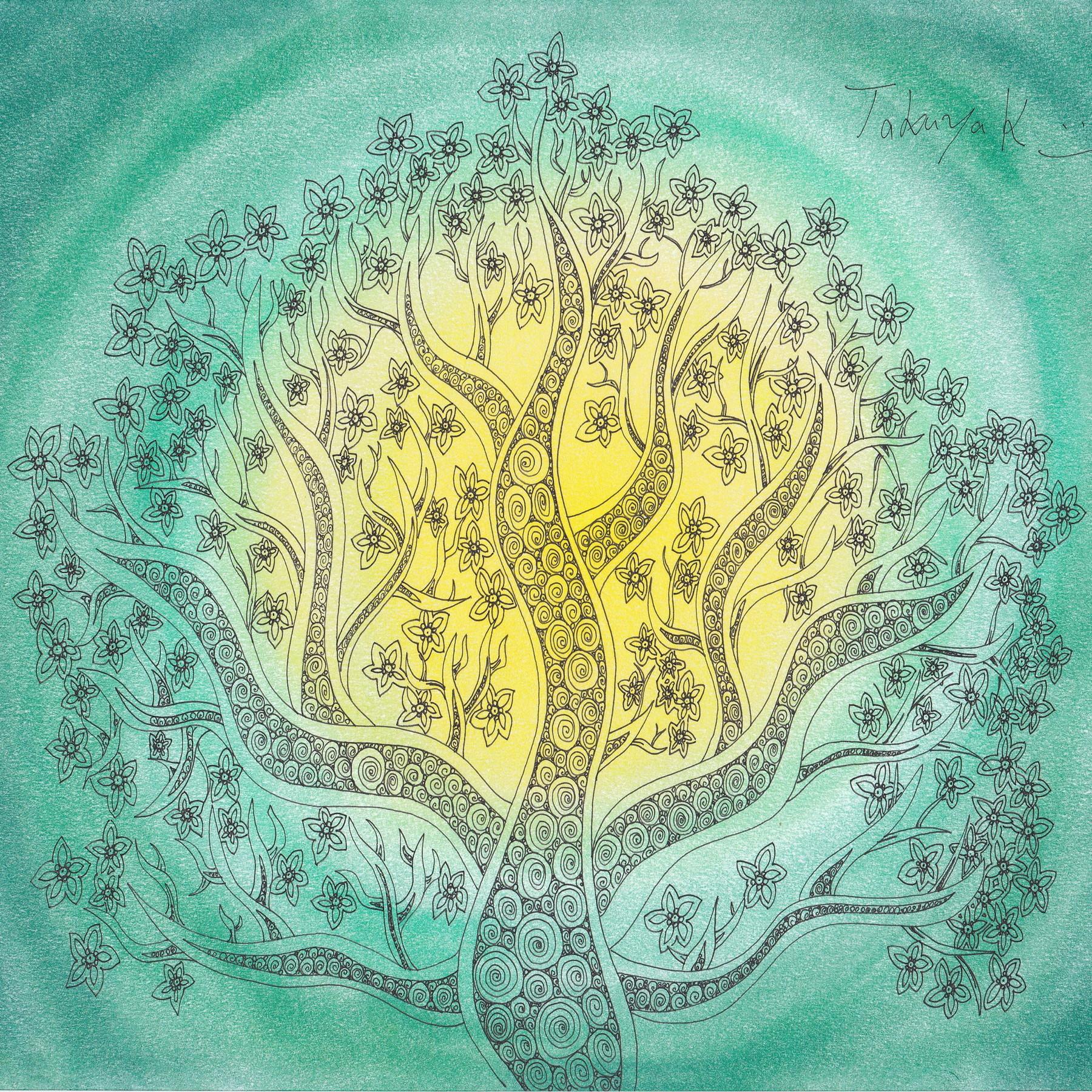 """絵画 インテリア アートパネル 雑貨 壁掛け 置物 おしゃれ 植物 創作イラスト ゼンタングル パターンアート ロココロ 画家 : Takuya Kawashima 作品 : 希望の樹""""源"""""""