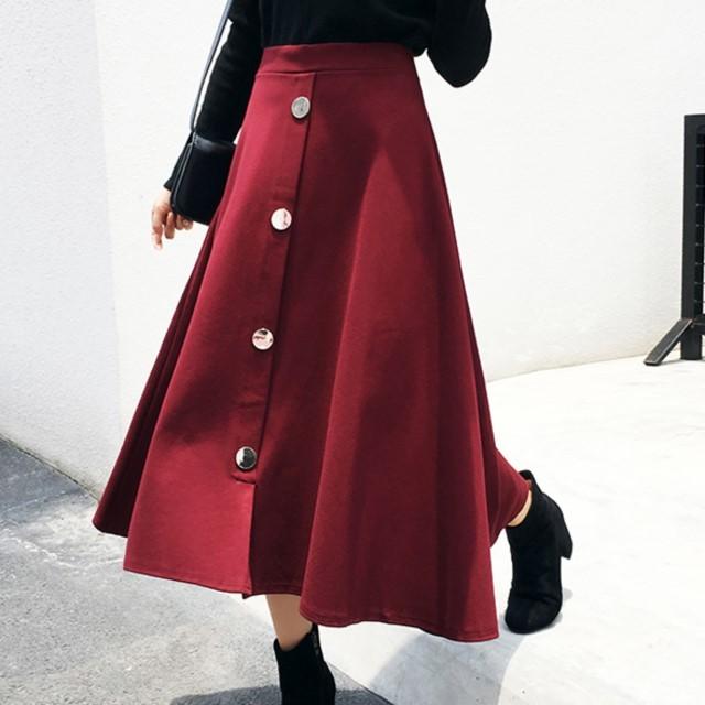 売れ筋☆おすすめ☆ Aライン スカート ロング 秋冬 ハイウエスト 女性らしい 前ボタン