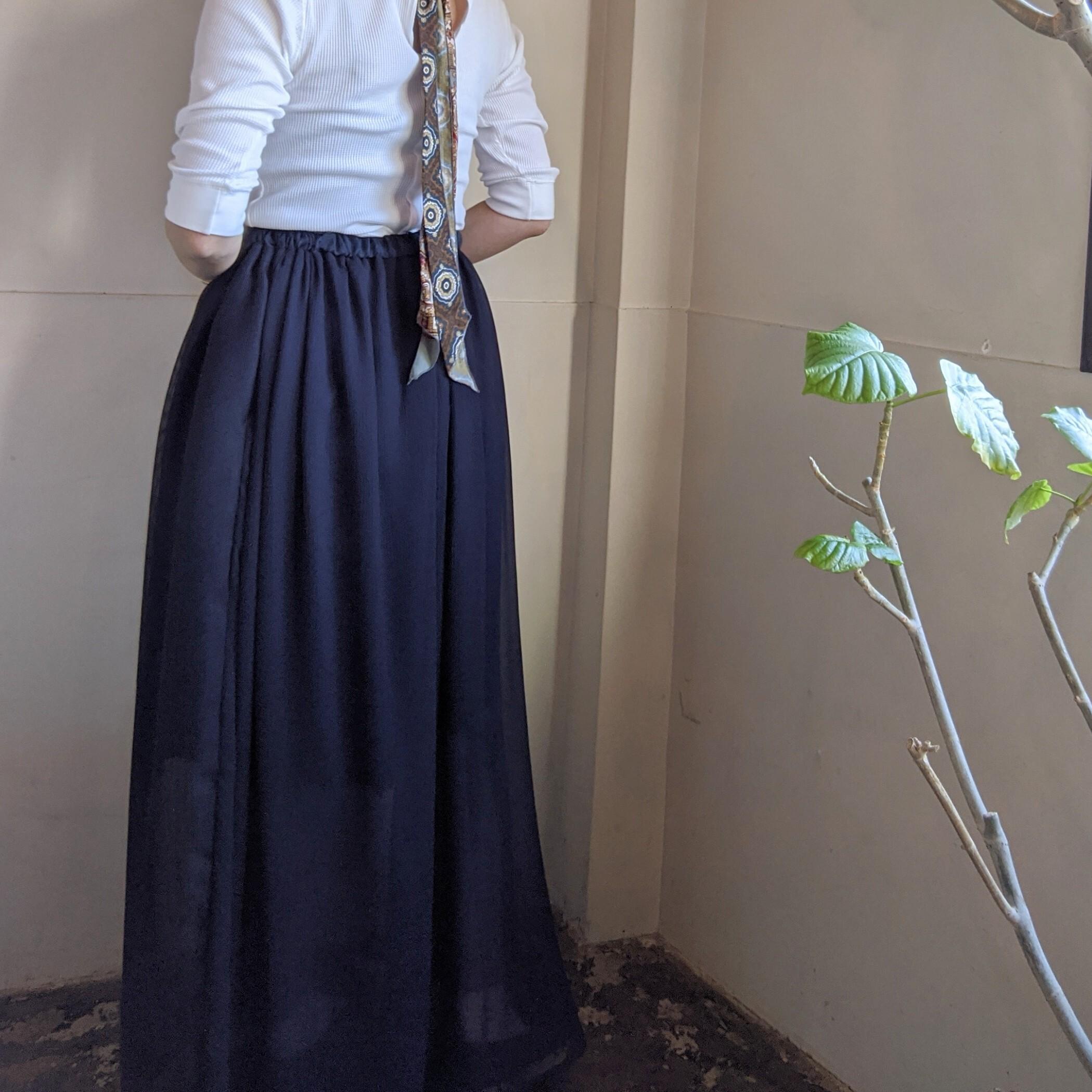 【 AKIRAFURUKAWA 】MESH LONGSKIRT /メッシュ切替ロングスカート NAVY