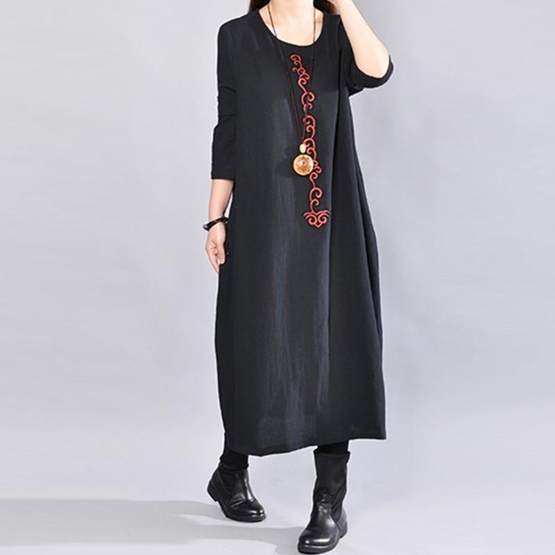 【ワンピース】合わせやすい長袖無地ラウンドネックカジュアルワンピース14929936