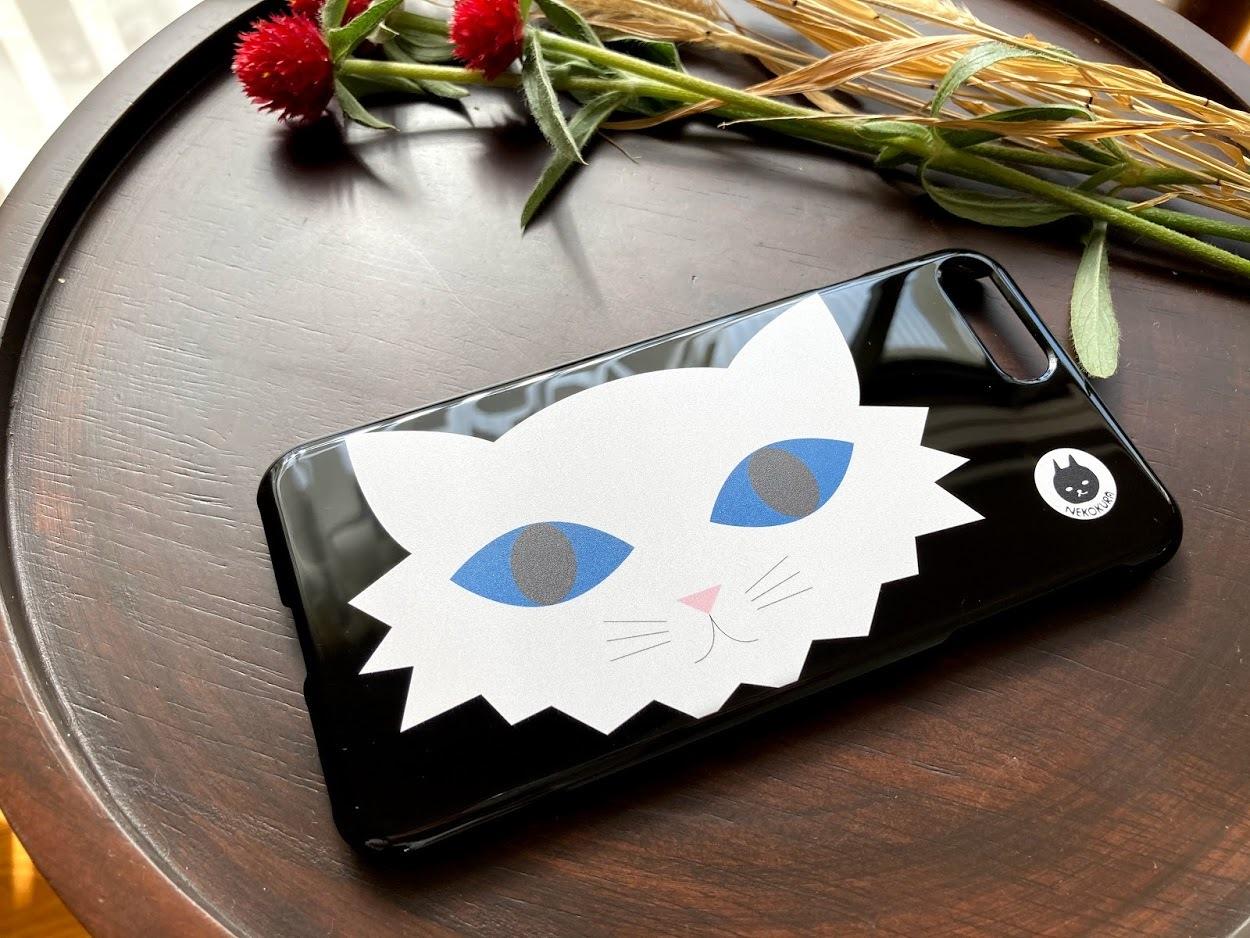 白猫 iPhone7Plus/iPhone8Plus用ハードケース・ブラック