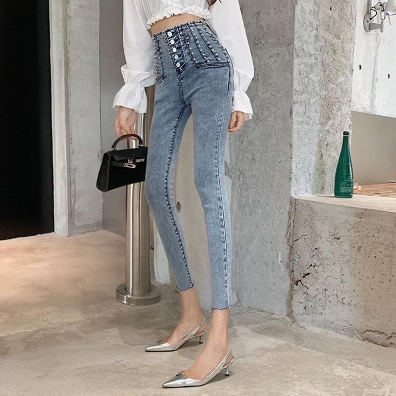 【即納】waist many studs skinny pants