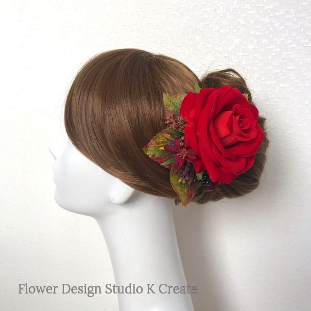 発表会・フラメンコ髪飾りに☆赤い薔薇の髪飾り フローレス バラ レッド ヘアクリップ
