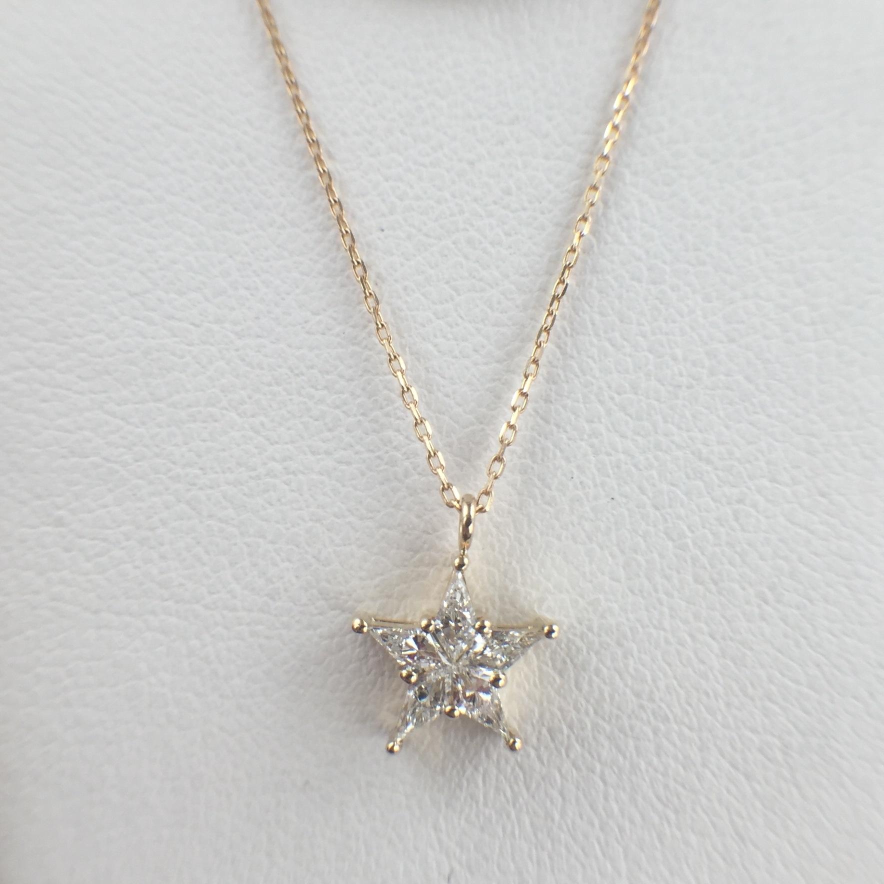 スター ダイヤモンド ペンダント M 0.13ct K18イエローゴールド  チェカ