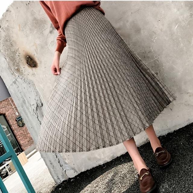 人気 売れ筋  ロングスカート プリーツ チェック柄 レトロ 可愛い ガーリー 膝下丈 ふんわり