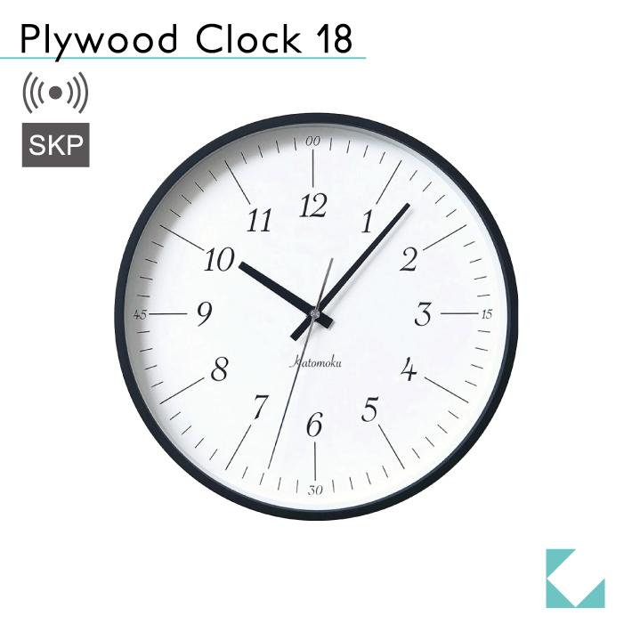 KATOMOKU plywood clock 18 km-110BRRCS ブラック SKP電波時計
