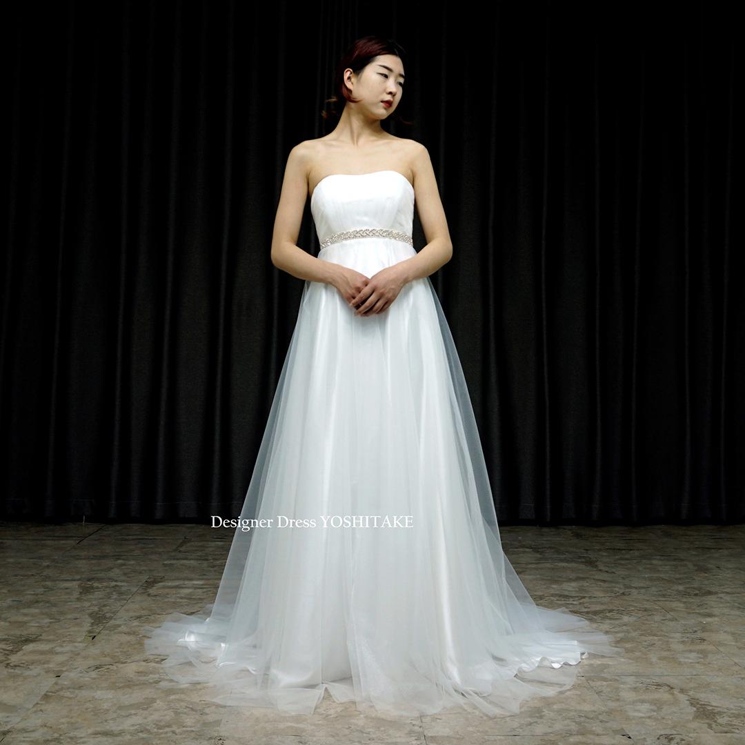 【オーダー制作】ウエディングドレス(無料パニエ) ウエディングスレンダー白ドレス.チュール.挙式用.前撮り.二次会パーティー.写真※制作期間3週間から6週間