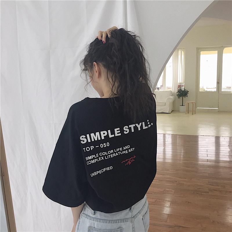 【tops】ファッションアルファベットラウンドネックTシャツ20604699
