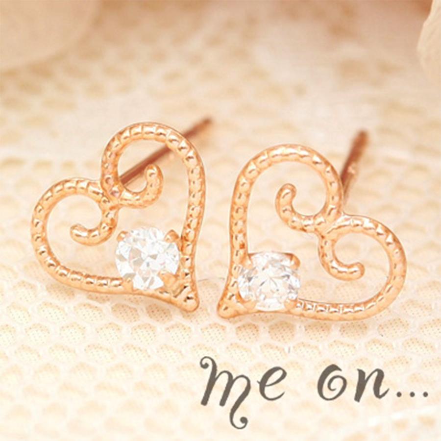 【me on...】◆K10イエローゴールド&ピンクゴールド・キュービックジルコニア ハートピアス