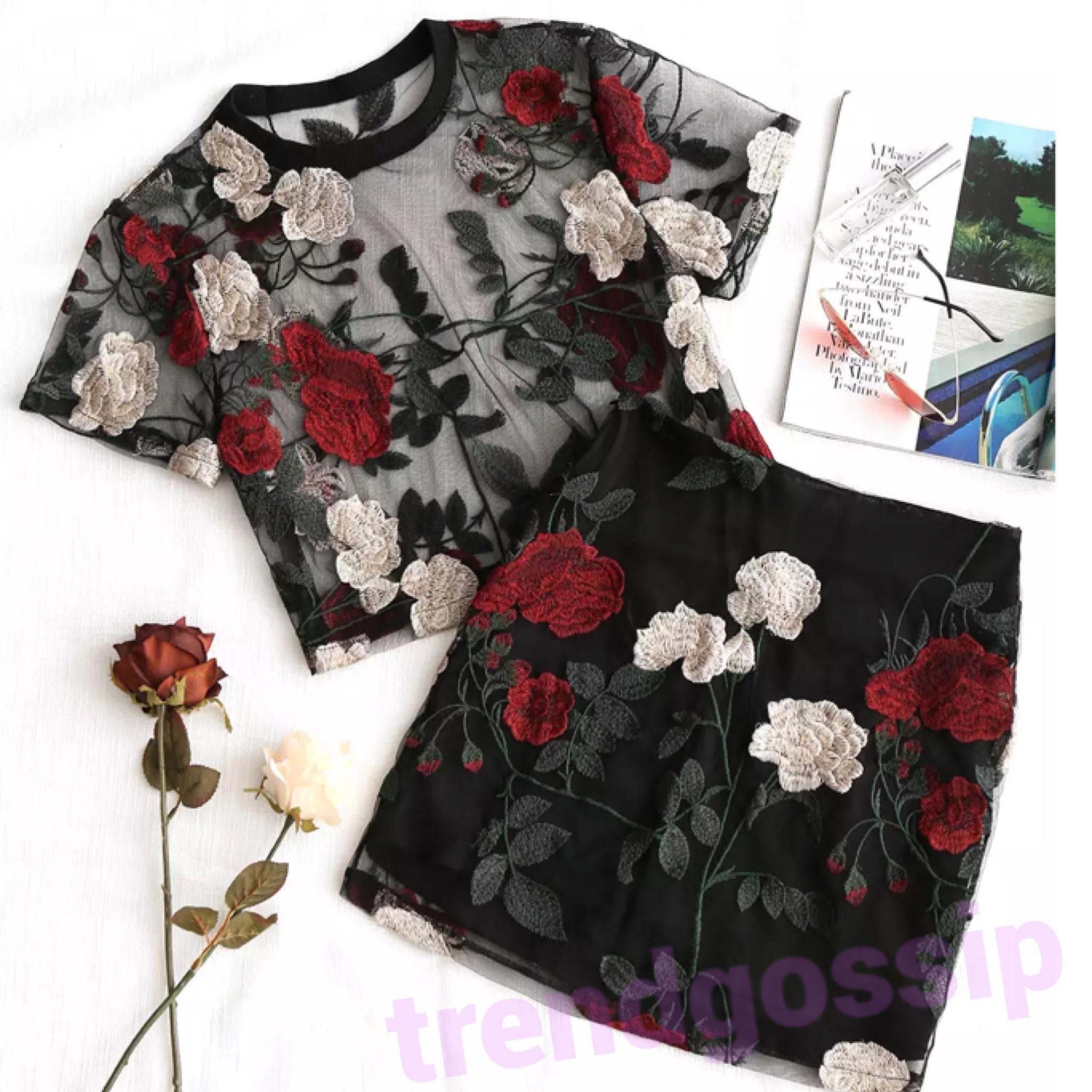 ローズ刺繍シースルースカートセットアップ/S.M.L/SS