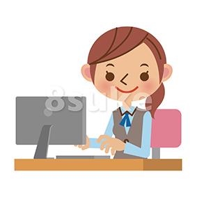イラスト素材:パソコンを使うOL・事務職の女性(ベクター・JPG)