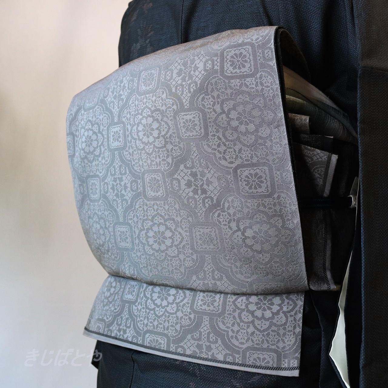 正絹 錫色に蜀紅文の袋帯 リバーシブル