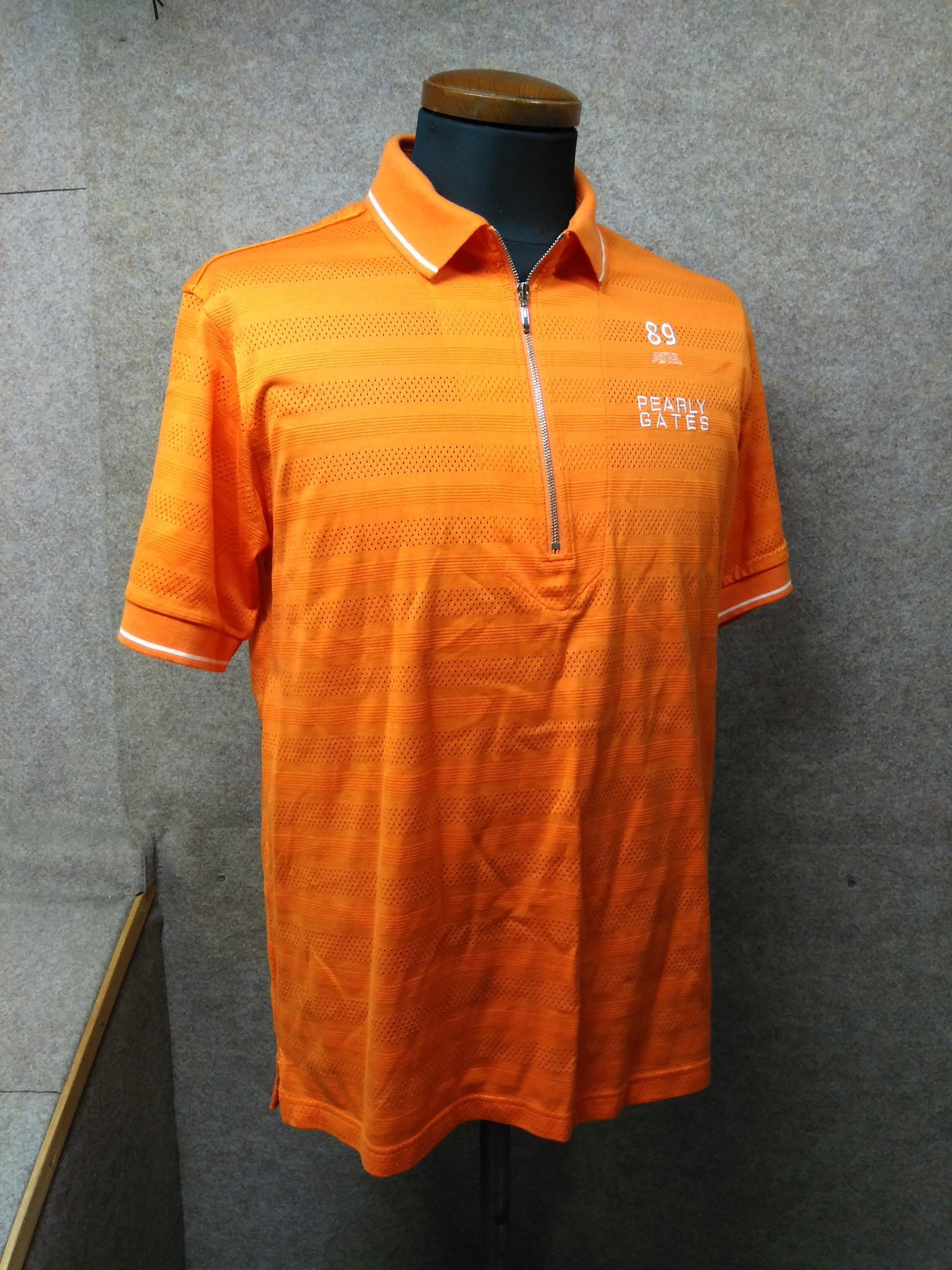 パーリーゲイツ ポロシャツ メンズ 4 オレンジ系 ハーフジップ my994c