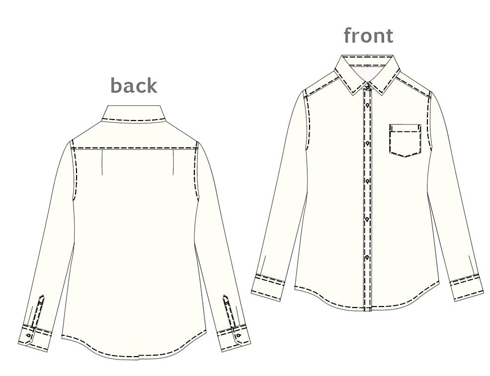 D003 ベーシックシャツの製図PDF