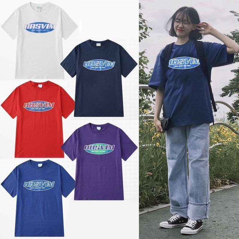 ユニセックス 半袖 Tシャツ メンズ レディース シンプル HASVIM 英字 プリント オーバーサイズ 大きいサイズ ルーズ ストリート