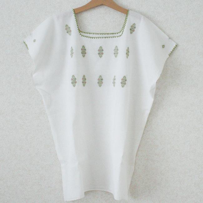 ポイント刺繍ブラウス /Lsize/259c/ MEXICO メキシコ