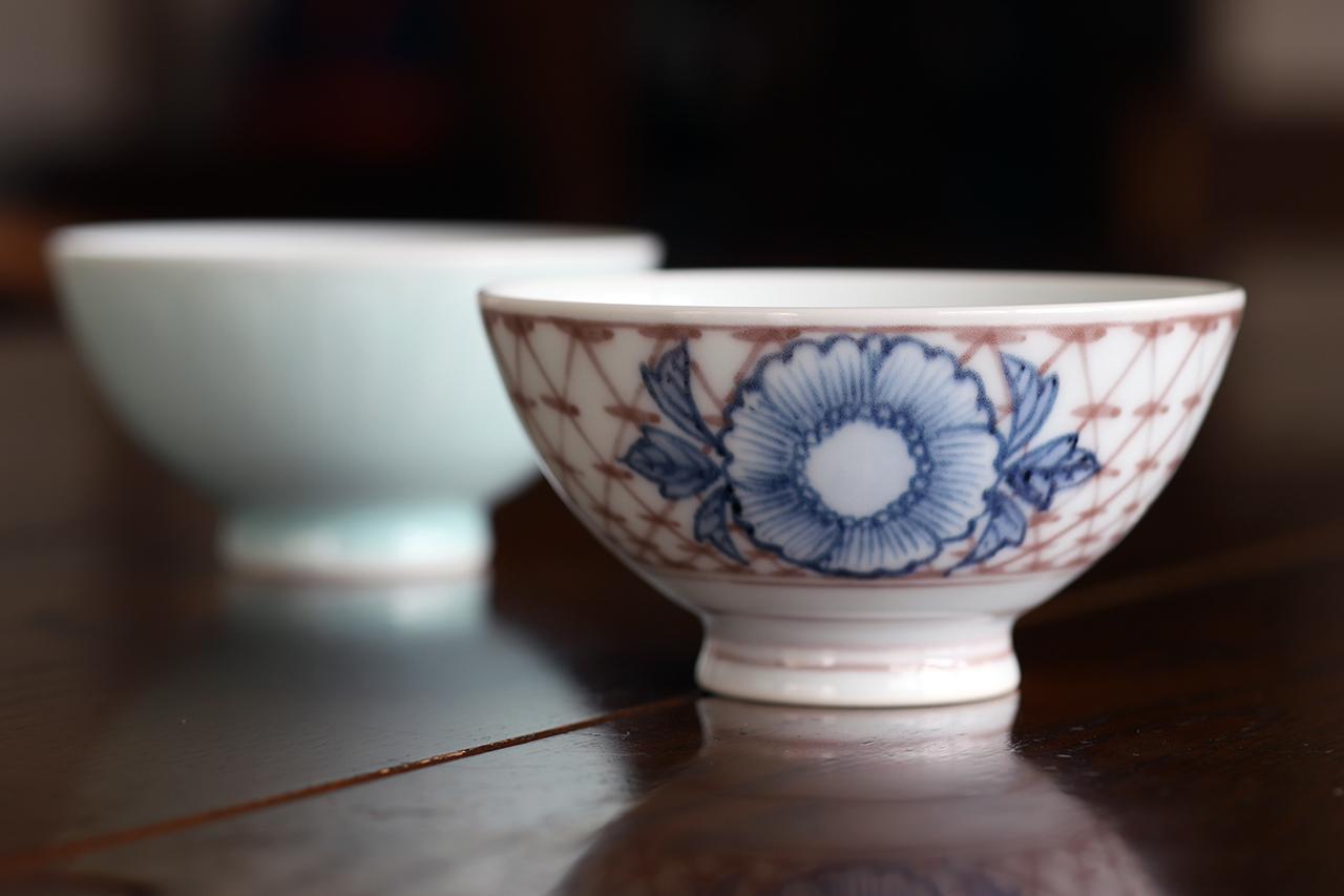 釉裏紅斜め格子花文 飯碗 作:松尾重利・凌山窯