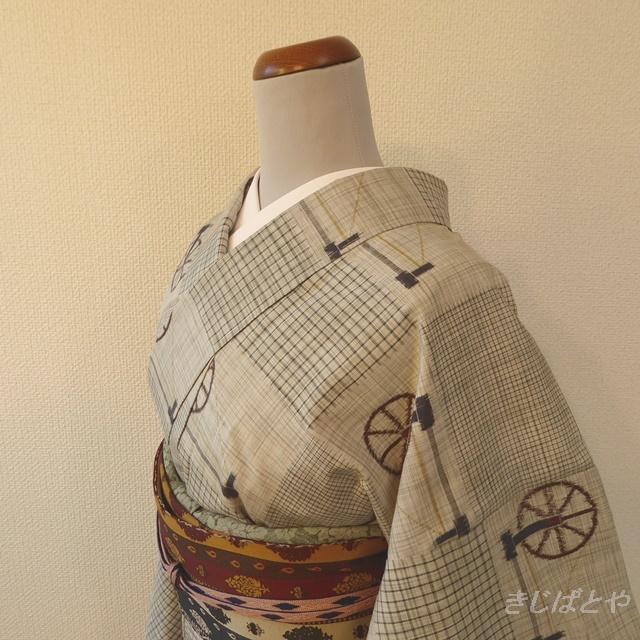 正絹紬 グレーに糸車の小紋 袷