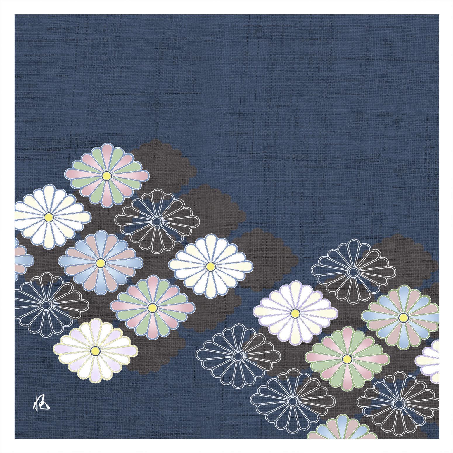 ガラス皿「そめゆら」K-14 菊紋 ブルー