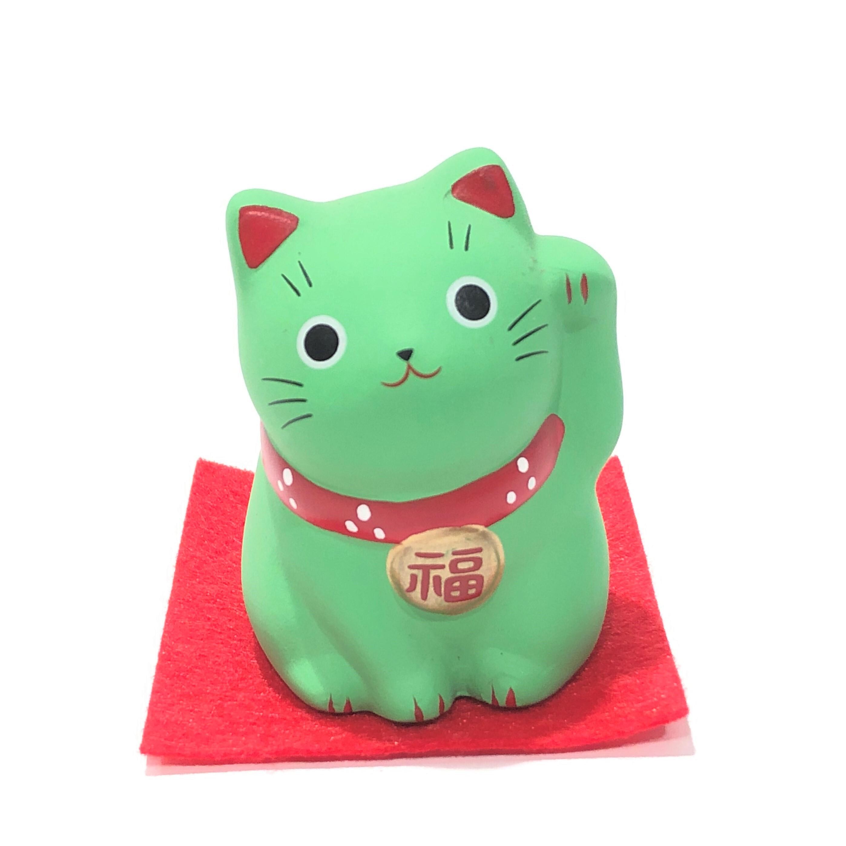 錦彩福おいで招き猫 緑猫 必勝合格