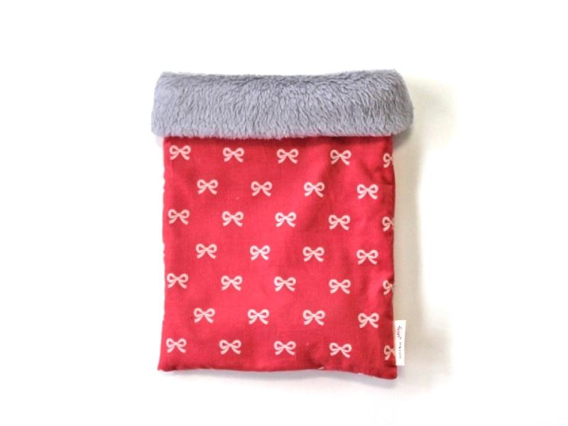 ハリネズミ用寝袋 M(冬用) コーデュロイ×ボアフリース リボン ピンク