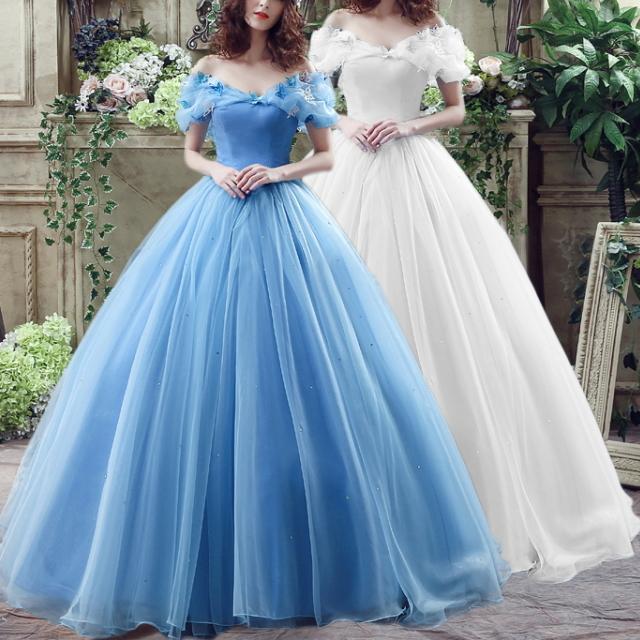 ウエディングドレス オフショルダー プリンセスドレス