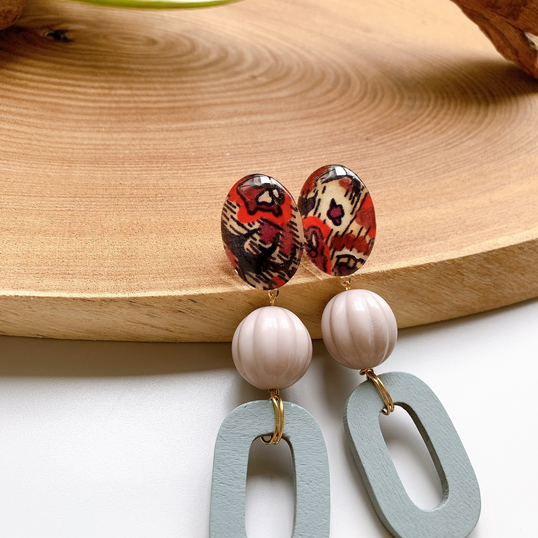 """ Earrings NO.danoan-70″ リバティとwood beads"