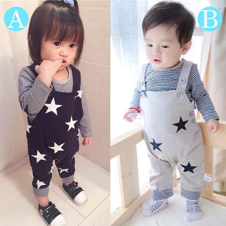 【即納セール】80サイズ 星柄オーバーオール 2点セット(上着+パンツ) ベビー服