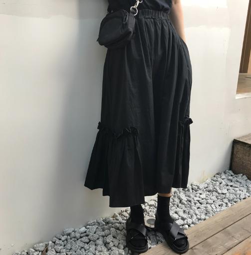 【送料無料】着回し力抜群!ブラックフリルハイウエストスカート