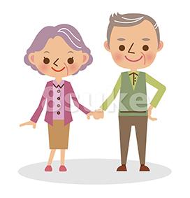 イラスト素材:手をつなぐ老夫婦(ベクター・JPG)
