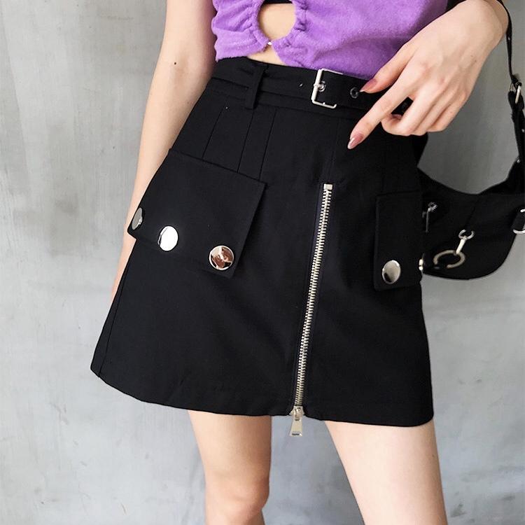 design button a-line skirt