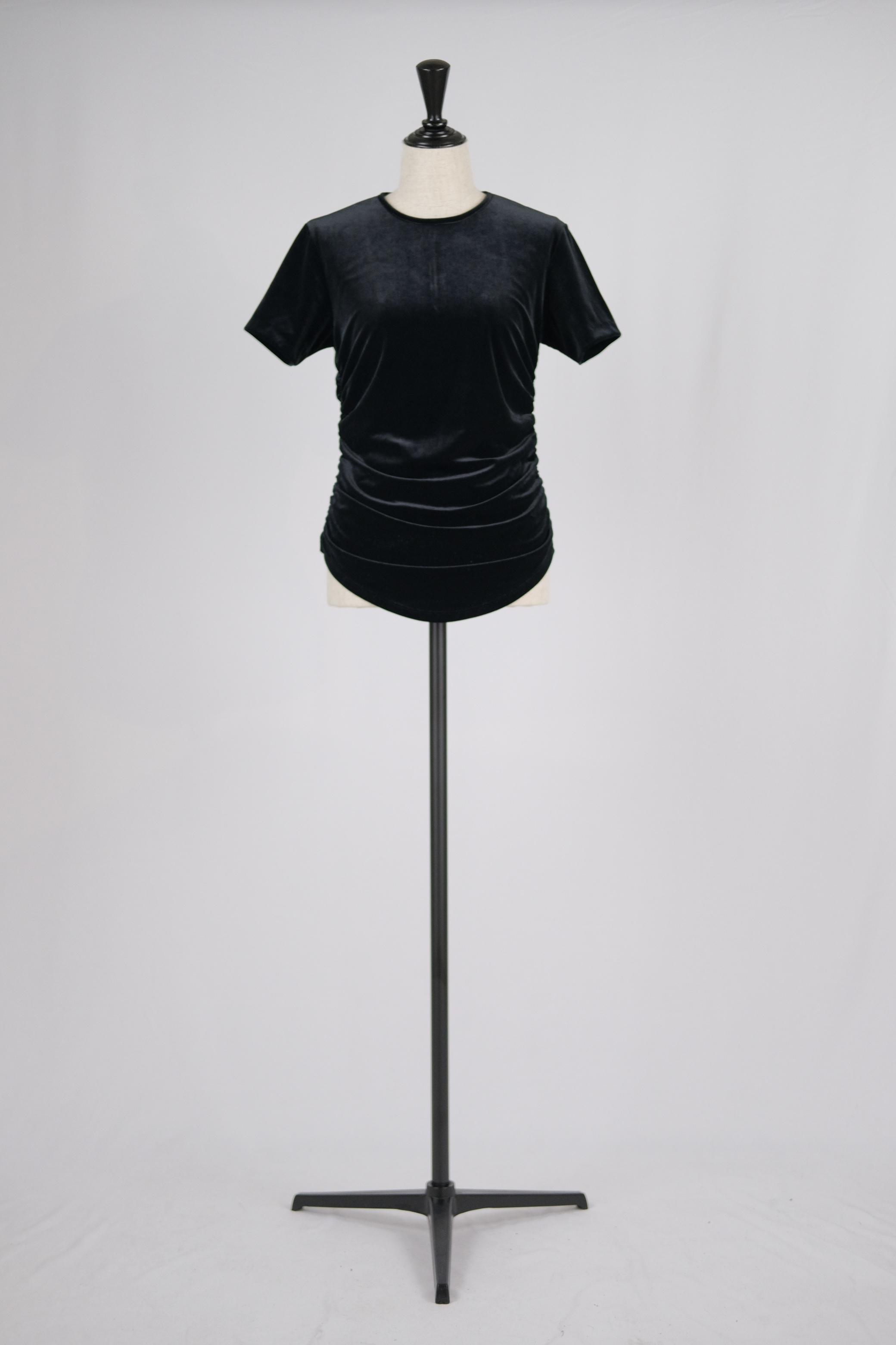 【FETICO】gathered velour T-shirt - black