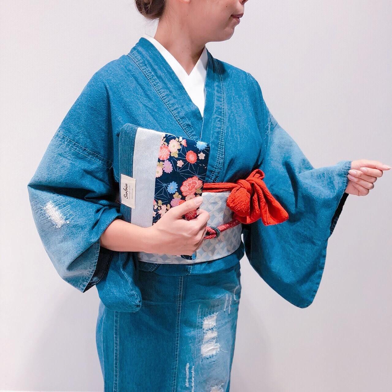 和柄デニムクラッチ - 瑠