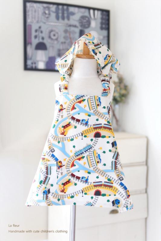 キッズエプロン・三角巾セット110-120*電車/La fleur