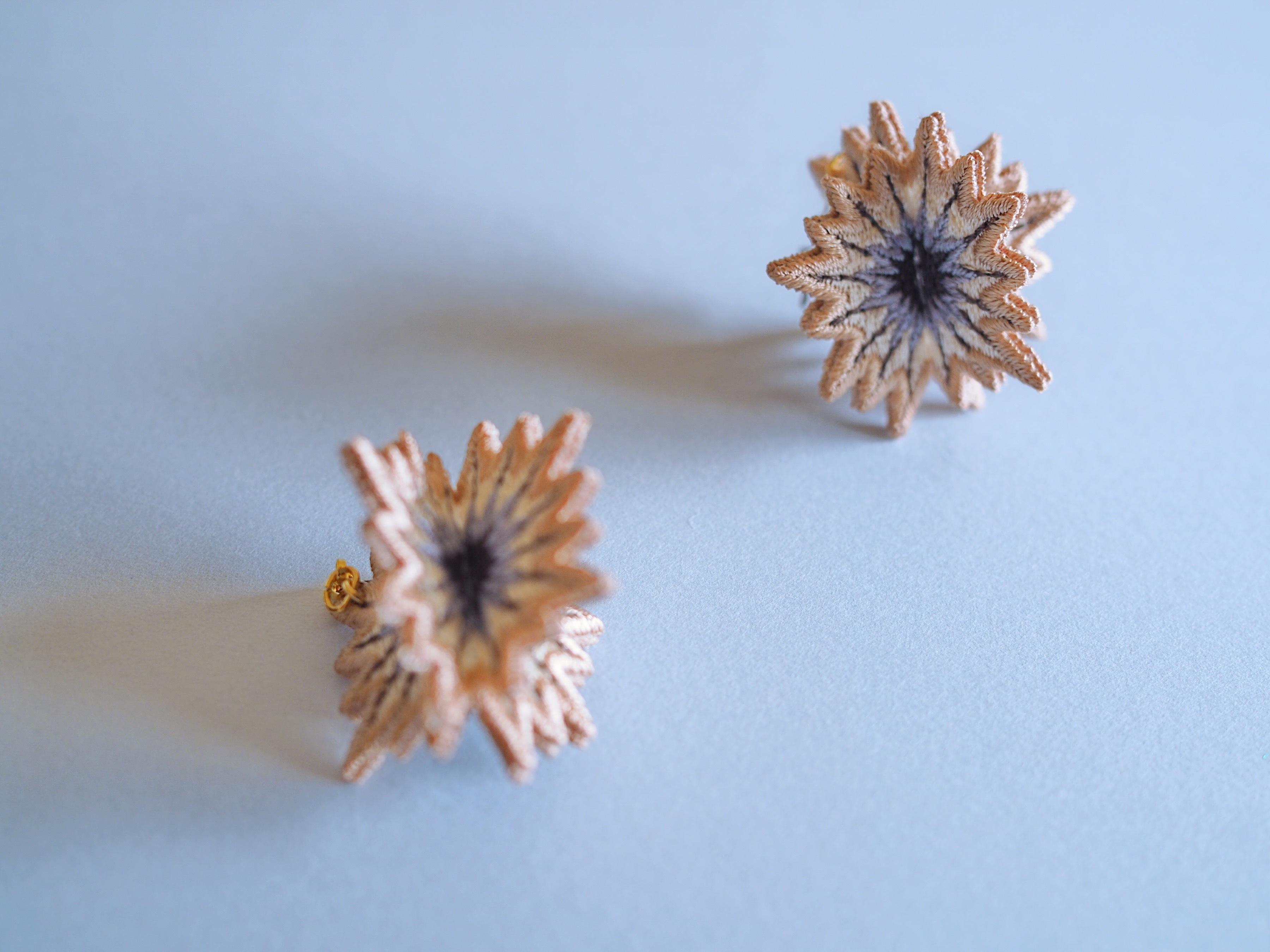 ARRO / Embroidery Earrings / SPUTNIK / pink beige