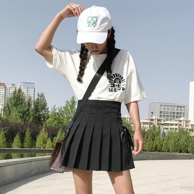 【送料無料】 スクールガールテイスト♡ ハイウエスト プリーツスカート サイド レースアップ リボン ミニスカート