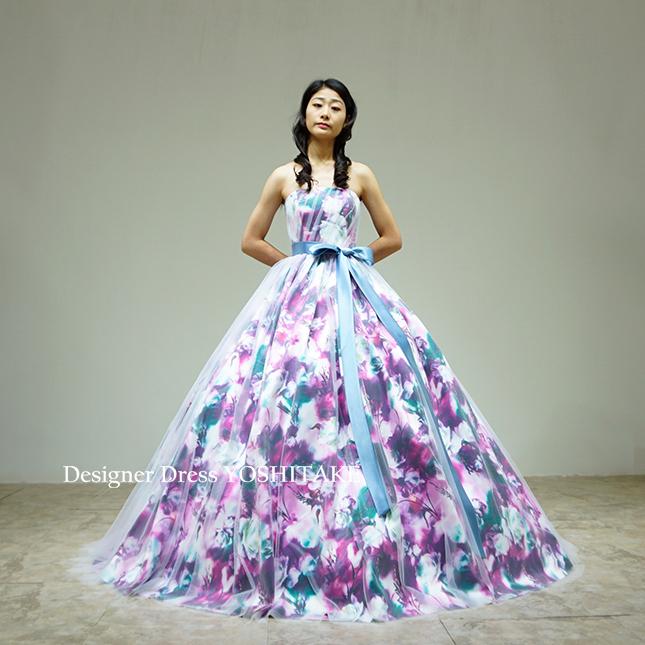 【オーダー制作】ウエディングドレス(パニエ無料) パープル花柄Ver.2&白チュール 二次会用/披露宴 ※制作期間3週間から6週間